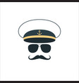 captain sailor face icon vector image
