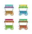 cartoon flower stand kiosk on wheels set vector image vector image