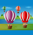 cartoon kids flying in a hot air balloon at the ri vector image