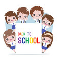 cheerful student in uniform holding back vector image