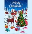 christmas tree decorations and reindeer with gifts vector image vector image