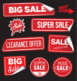 collection of red labels with rounded corners and vector image vector image