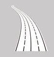 curved road with white lines vector image vector image