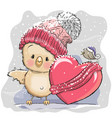 cute cartoon chicken in a knitted cap vector image vector image