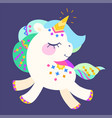 cute unicorn with colorful mane vector image vector image