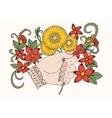doodle bouquet of dandelions in hand vector image vector image