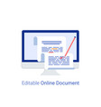 editable online document concept vector image vector image