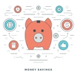 Flat line Money Savings Concept vector image