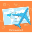 flat travel with airplane design concept vector image