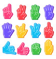 foam fingers sports fan hand with different vector image vector image