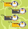 Four cute cartoon Penguins stickers vector image