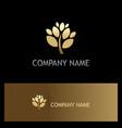 gold plant tree company logo vector image