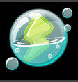 green energy icon in a soap bubble vector image