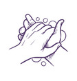 hand washing blue hands with foam bubbles vector image