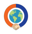 handshake around globe international partnership vector image