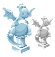 Ice statue of cute fat dragon in cartoon style vector image vector image