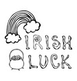 irish luck logo with rainbow and pot of gold vector image vector image