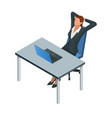 isometric businesswoman isolated on write vector image