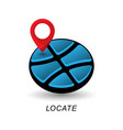 location pointer and globe logo design element vector image