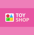 logo for kids toy stop with caption on vector image vector image