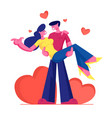 loving couple romantic relations man holding vector image vector image