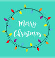 merry christmas lights round frame holiday vector image