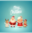 merry christmas - santa claus his wife mrs claus vector image