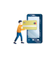 mobile payment or money transfer concept vector image vector image