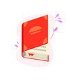 open book with red hardcover and paper pages with vector image vector image