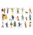 people outdoor activities in different seasons set vector image vector image