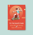 poster template with skateboard design concept vector image vector image