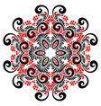 red and black colors curly ornate mandala vector image vector image