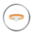 Ring with diamond icon in cartoon style isolated vector image vector image