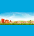 rubber boots with watering can in a green grass vector image vector image
