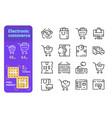 set electronic commerce simple lines icons shop vector image
