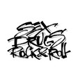 sex drugs rock-n-roll modern calligraphy hand vector image