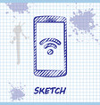 sketch line smartphone with free wi-fi wireless vector image vector image
