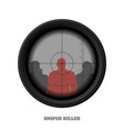 sniper rifle scope military weapon view vector image
