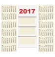 Template grid Wall Calendar 2017 First Day Monday vector image vector image