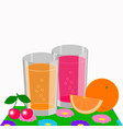 two glasses of orange and cherry juice vector image