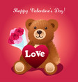 valentines day bear greeting vector image vector image