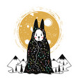 with rabbit in a cape with constellations vector image