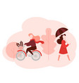 woman walks girl rides bicycle in autumn park vector image vector image