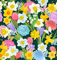 spring floral design on the dark background vector image