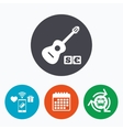 Acoustic guitar sign icon Paid music symbol vector image vector image