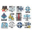 airplane pilot school aviation icons vector image