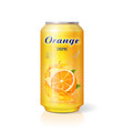 aluminum can with fruit orange juice isolated vector image vector image