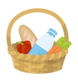 Basket with products icon in cartoon style vector image