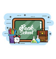 blackboard with pencils colors and backpack to vector image