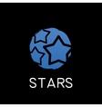 blue stars icon on black background vector image